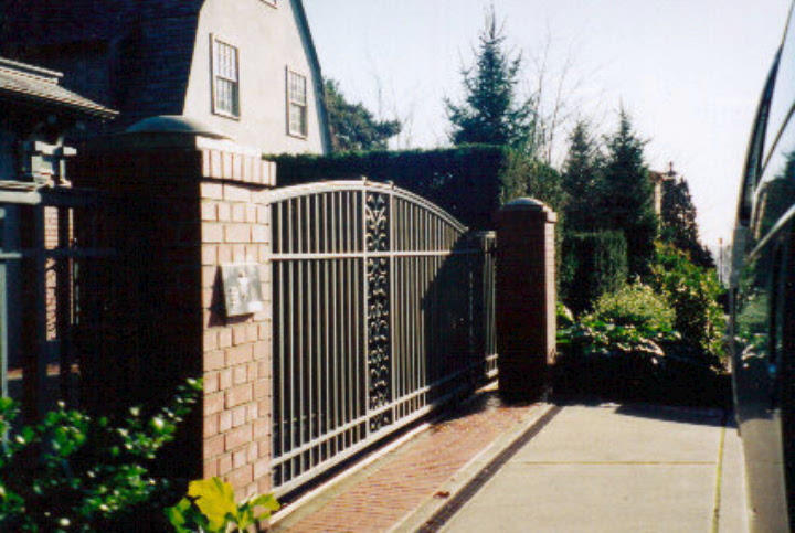 Green Gate with Scrolls