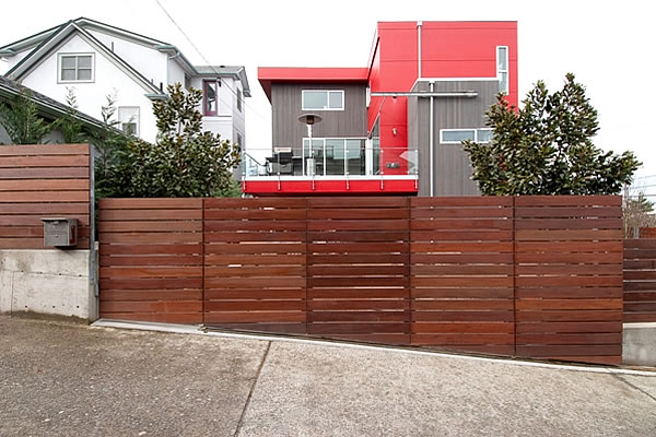 Residential Iron Wood Slide Gate - Seattle